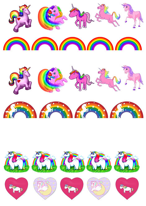 29 Stand Up Edible Wafer Paper Unicorn and Rainbow Toppers