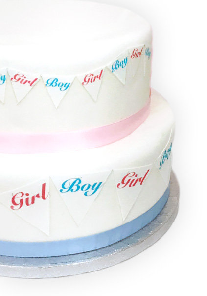 Baby Shower Gender Reveal Bunting 2 Sizes Decor Icing Sheet Edible Decoration