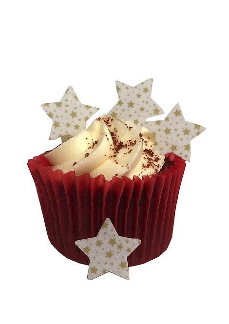 50 Pre-Cut Gold Star Patterned Mini STARS Edible Wafer Paper