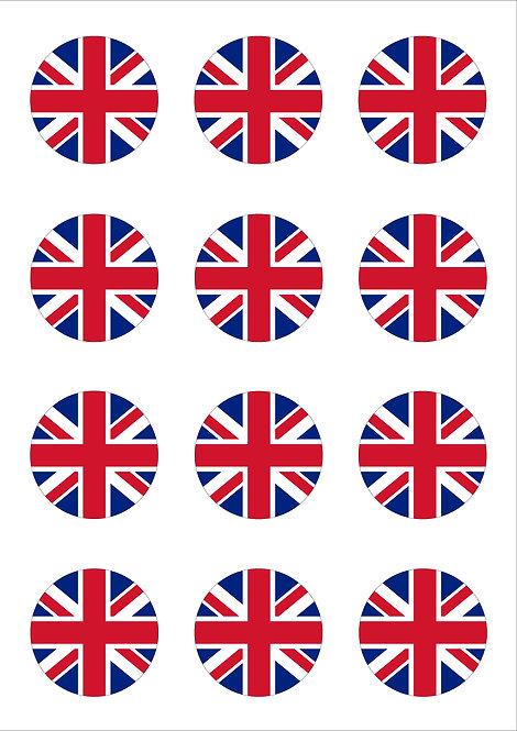 Union Jack 5cm Circle Thin Edible Wafer Paper