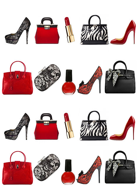 20 Stand Up Edible Wafer Paper Red and Black Handbag and Shoes Toppers