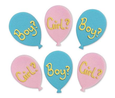 Baby Shower Gender Balloons Edible Sugarcraft Icing