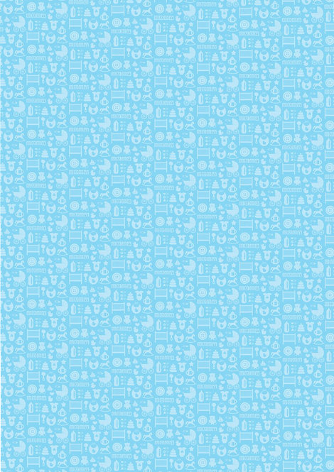 1 x A4 Blue Baby Shower Wallpaper Decor Icing Sheet