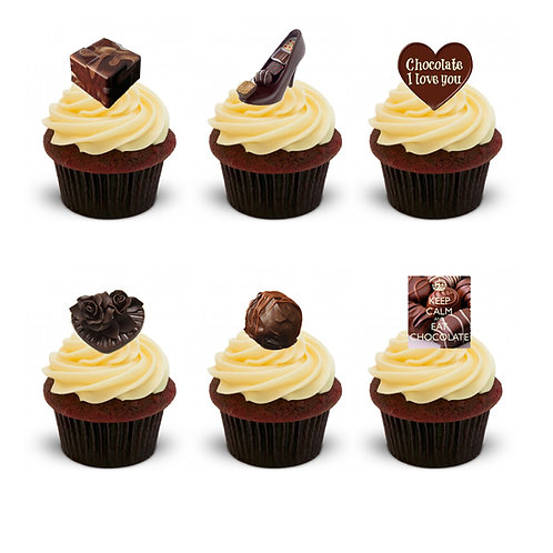 27 Stand Up Edible Wafer Paper I Love Chocolates Toppers