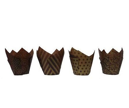 50 Brown & Gold Pattern Tulip Muffin Cupcake Baking Cases