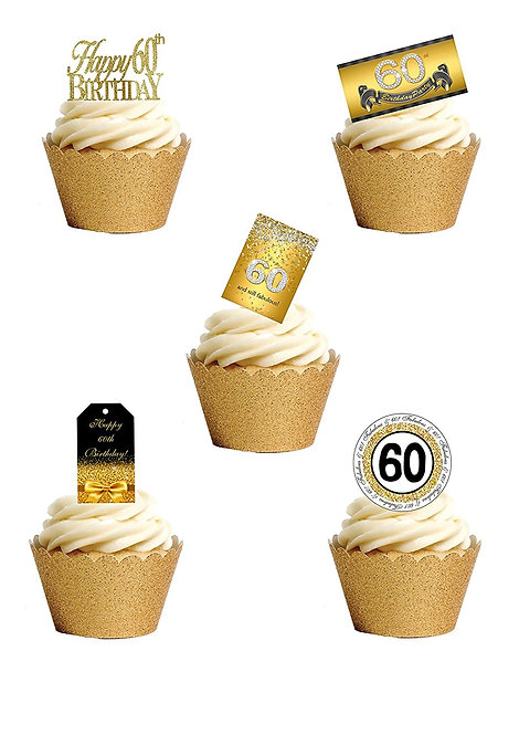 27 Stand Up Edible Wafer Paper SIXTIETH 60th Birthday Toppers