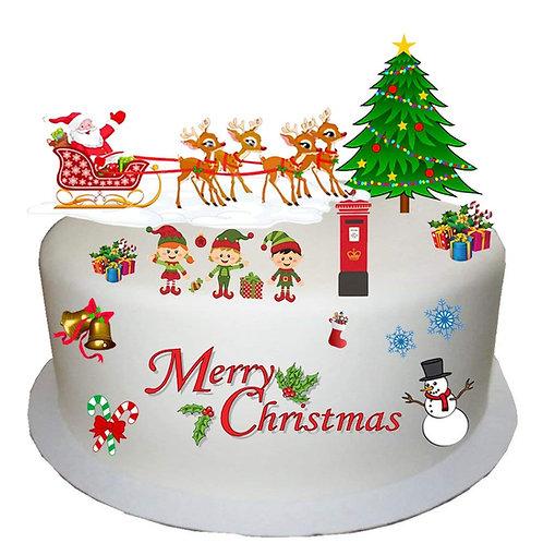 Cute Children's Clipart Style Christmas Scene Edible Wafer Paper Cake Topper