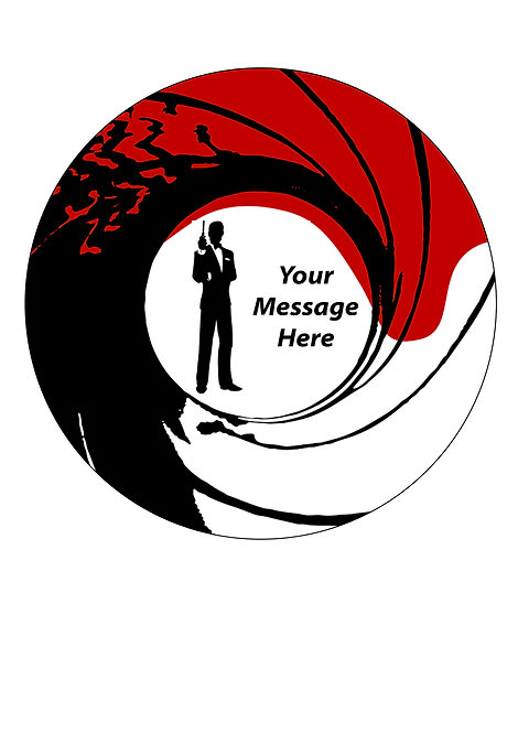 James Bond 007 PERSONALISED MESSAGE 7.5 Inch Circle Decor Icing Cake Topper
