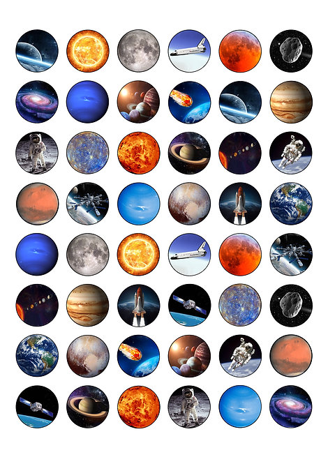 48 Space Planets 2.5cm Edible Wafer Paper cake Toppers
