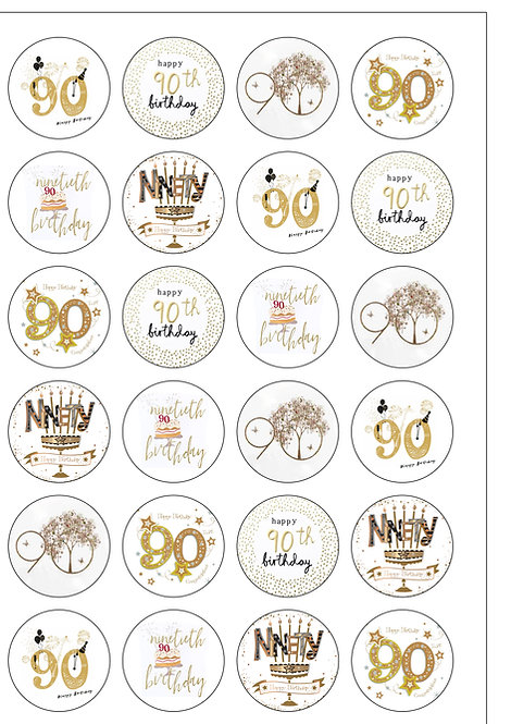 24 Precut Edible Wafer Paper Age 90 Ninety 90th Ninetieth Birthday Cake Toppers