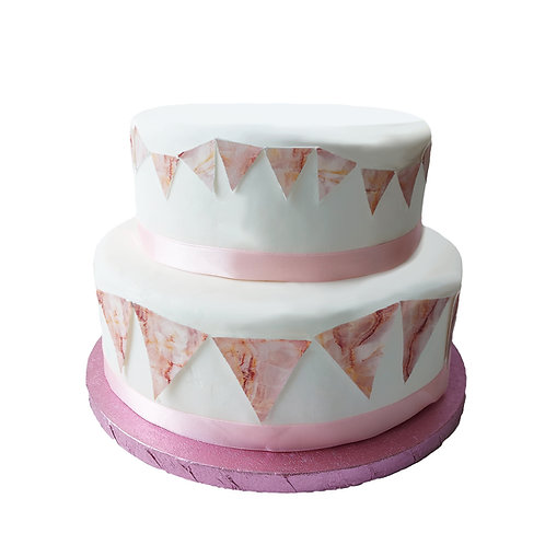 Pink Marble effect BIG and Small Bunting Decor Icing Sheet