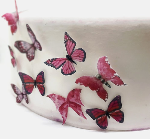 54 Mixed Pink Butterfly Toppers Edible Thin Wafer Paper