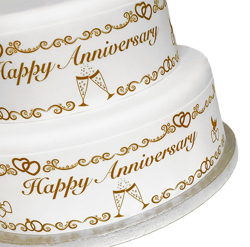 General Anniversary Celebration Ribbon Border Decor Icing Sheet Cake Decoration