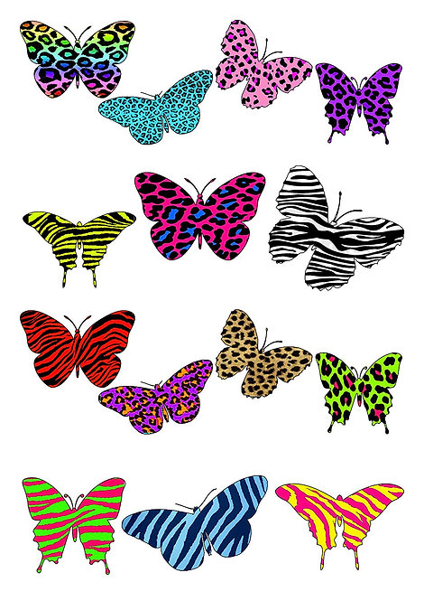 14 Colourful Mixed Pattern Butterfly Toppers Edible Thin Wafer Paper