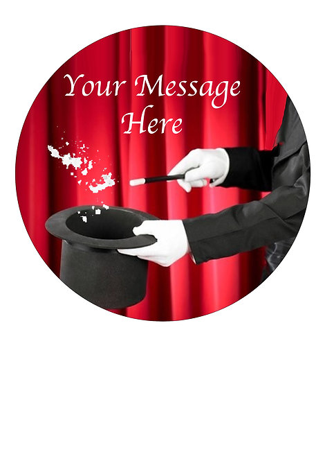 Magician Magic Design PERSONALISED MESSAGE 7.5 Inch Circle Decor Icing