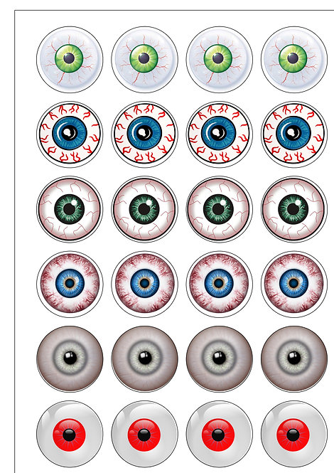 24 Gruesome Halloween Eyeballs Pre-Cut Thin Edible Wafer Paper