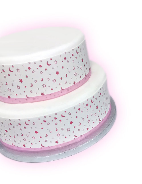 PINK Moon and Star Baby Shower Border Edible Decor Icing Sheet Cake Decoration