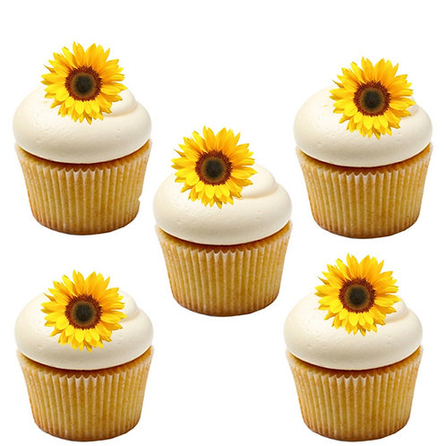 30 Sunflower Flower Cake Toppers Edible Thin Wafer Paper
