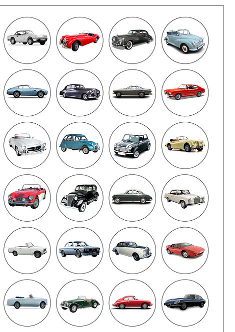 24 Precut Vintage Classic Cars Edible Wafer Paper Toppers Decorations