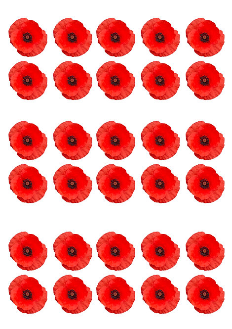 30 Red Poppy Flower Toppers Edible Thin Wafer Paper