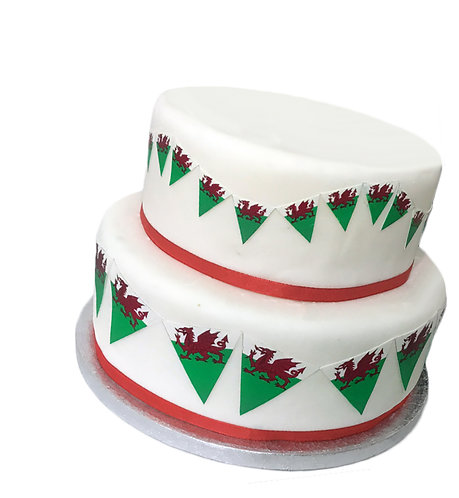 Welsh Wales Flag Bunting 2 Sizes Decor Icing Sheet Edible Decoration