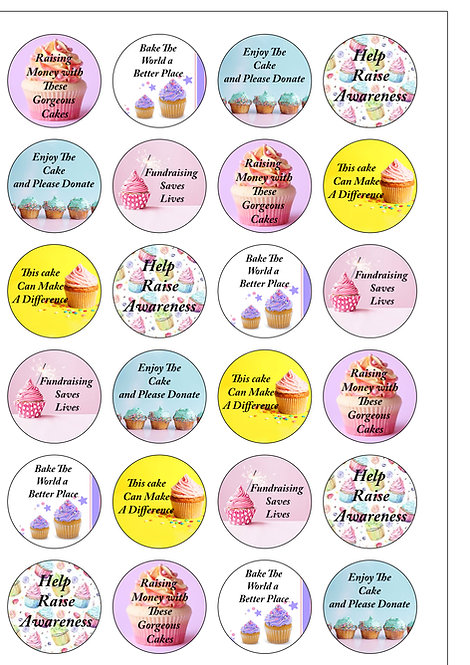 24 Precut Edible Wafer Paper Fundraising Charity Cake Toppers