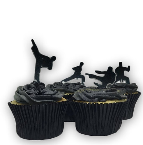 30 Stand Up Edible Wafer Paper Karate Martial Arts Silhouette themed Cake Topper