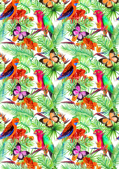 Tropical Parrot and Butterfly Design Wallpaper Decor Icing Sheet