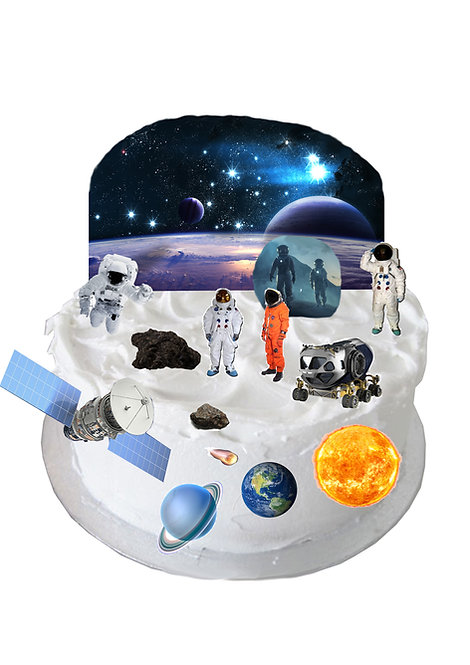 Outer Space Planets Scene Edible Wafer Paper Cake Topper