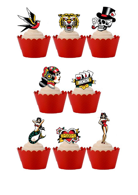 29 Vintage Tattoos Stand Up Edible Wafer Paper Cake Toppers