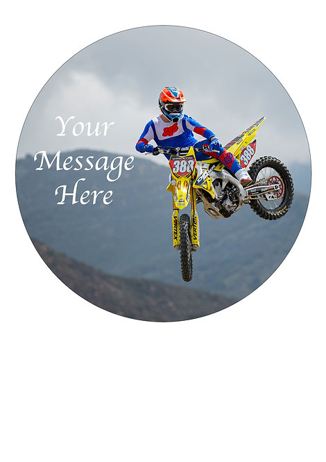 Motocross PERSONALISED MESSAGE 7.5 Inch Circle Decoration Topper