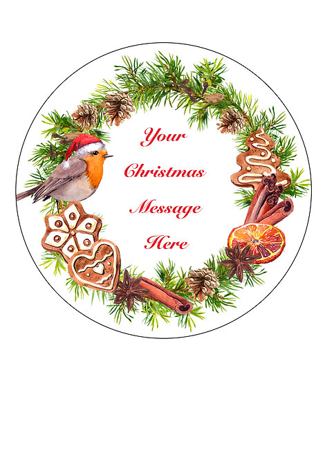 Christmas ROBIN Wreath PERSONALISED MESSAGE 7.5 Inch Circle Decor Icing