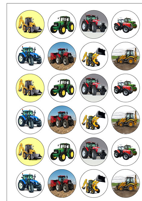 24 Tractors and Diggers Pre-Cut Thin Edible Wafer Paper