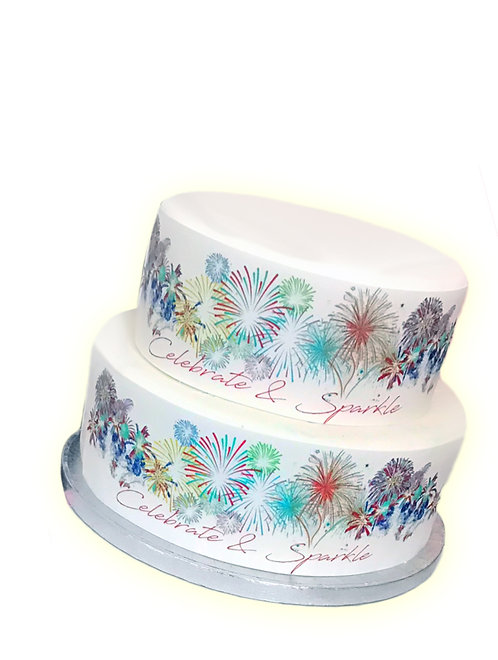 Colourful Fireworks Border Decor Icing Sheet Cake Decoration