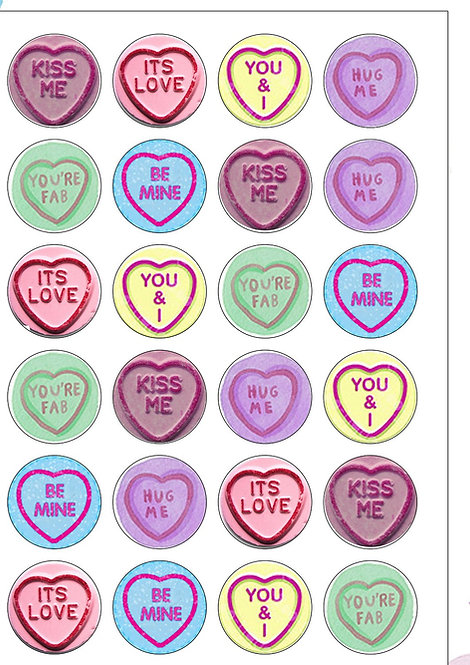24 Love Heart Sweets Pre-Cut Thin Edible Wafer Paper