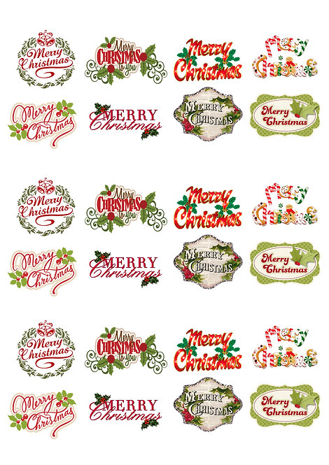 24 Stand Up Edible Wafer Paper Merry Christmas Words Toppers