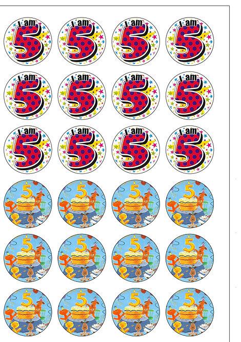 24 BOY Age 5 FIVE Birthday Pre-Cut Thin Edible Wafer Paper