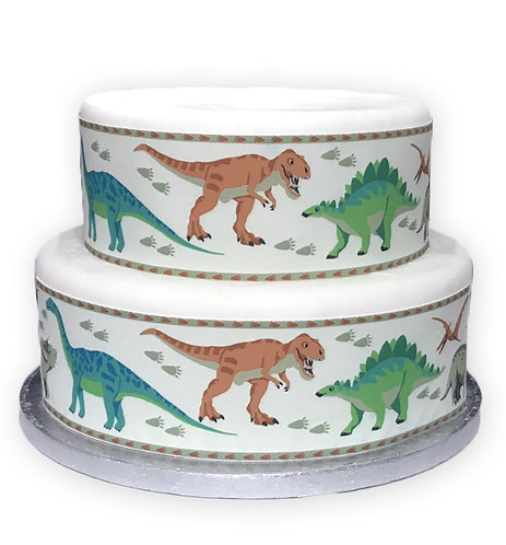 Cute Dinosaurs Borders Decor Icing Sheet Cake Decoratio