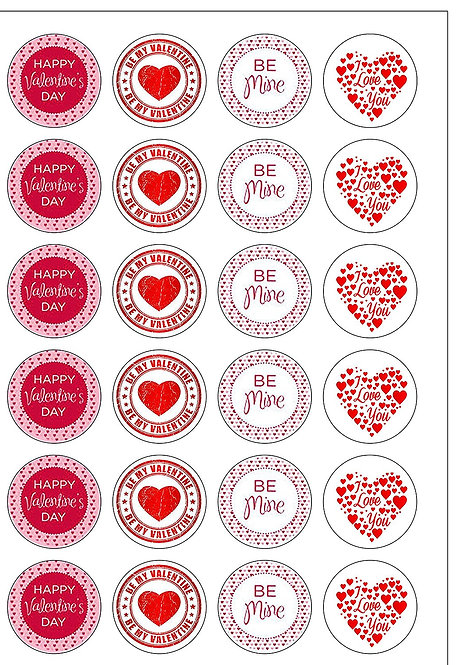 24 Valentines Day Love Be Mine Pre-Cut Thin Edible Wafer Paper