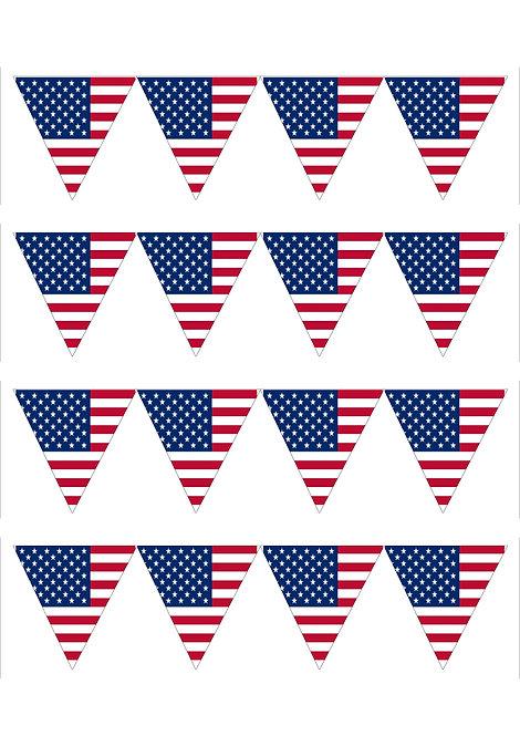 1 x A4 USA Flag BIG Bunting Decor Icing Sheet