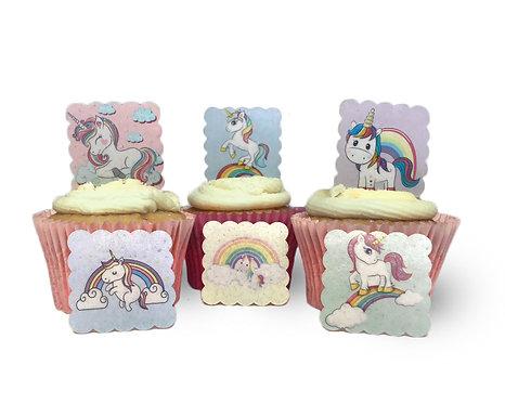 24 SQUARE Pre Cut Scalloped Cute Unicorn Rainbow themed Edible Wafer Paper Ca