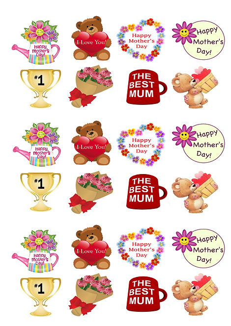 24 Stand Up Edible Wafer Paper Cute Teddy Mother's Day Toppers
