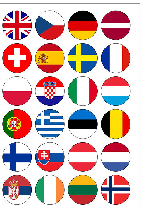 24 Pre-Cut European Flags Edible Wafer Paper Cake Toppers