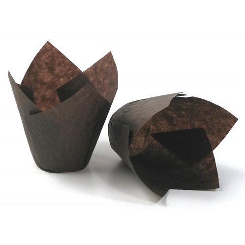 50 Brown Tulip Muffin Cupcake Baking Cases
