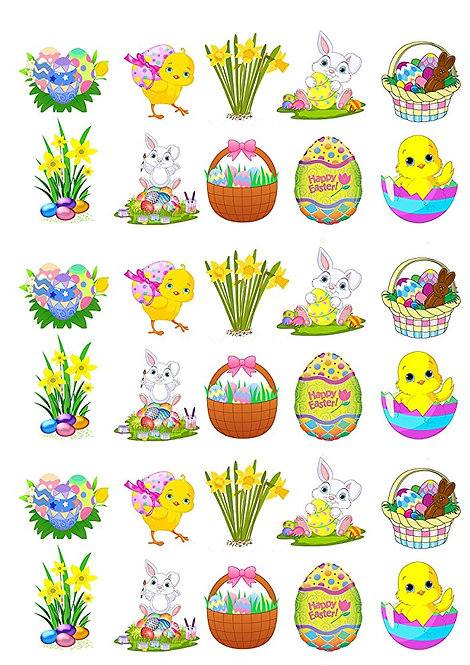30 Stand Up Edible Wafer Paper Cute Easter Bunnies and Chicks Toppers Decoration