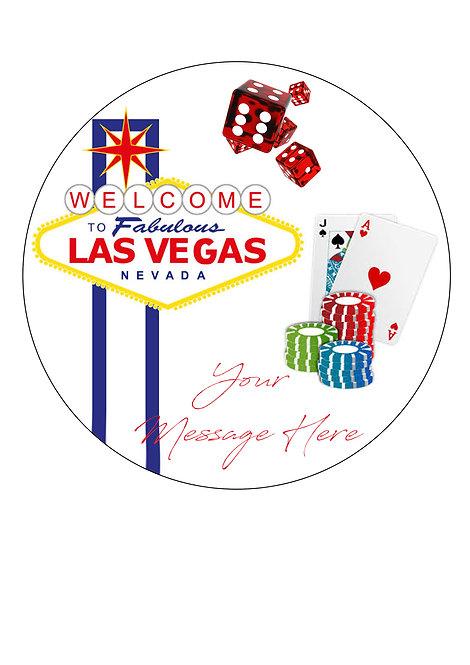 Las Vegas Gambling PERSONALISED MESSAGE 7.5 Inch Circle Decoration Topper