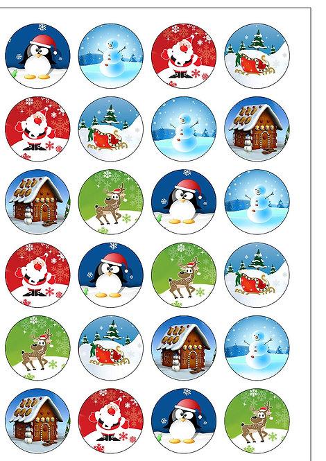 24 Clip-Art Christmas Pre-Cut Thin Edible Wafer Paper