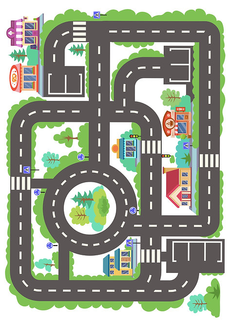 1 x A4 Childrens Town Car Road Race Track Wallpaper Decor Icing Sheet