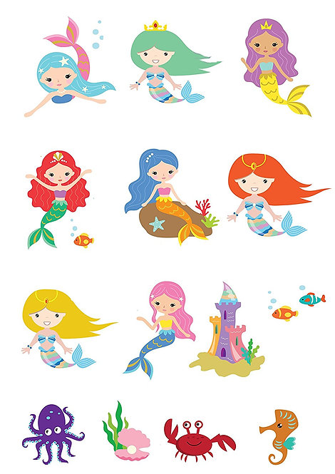 14 Stand Up EDIBLE Wafer Paper Cute Mermaid Fairytale Under The Sea Toppers