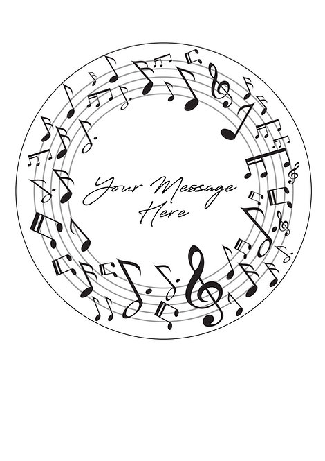 Musical Note PERSONALISED MESSAGE 7.5 Inch Circle Decor Icin